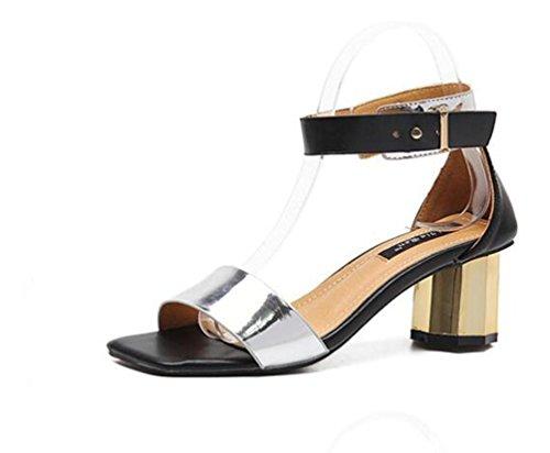 Chunky Mid Heel Open Toe Knöchelriemen Gürtelschnalle Rom Casual Sandalen Hochzeit Damen Schuhe EU Größe 35-39 Silver