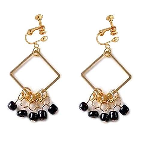 Ohrclips Clip on Ohrringe Ohr für No Piercing Drop Baumeln Square Beads String Club Banquet (Bead Tropfen Baumeln Ohrringe)