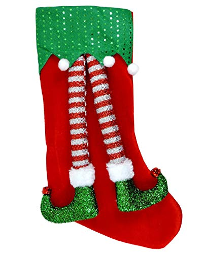 Calza befana grande vuota con gambe elfo 3d uomo donna rossa 46cm