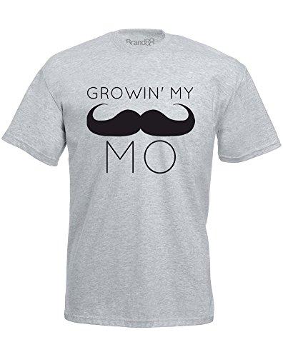 Brand88 - Brand88 - Growin' My Mo, Mann Gedruckt T-Shirt Grau/Schwarz