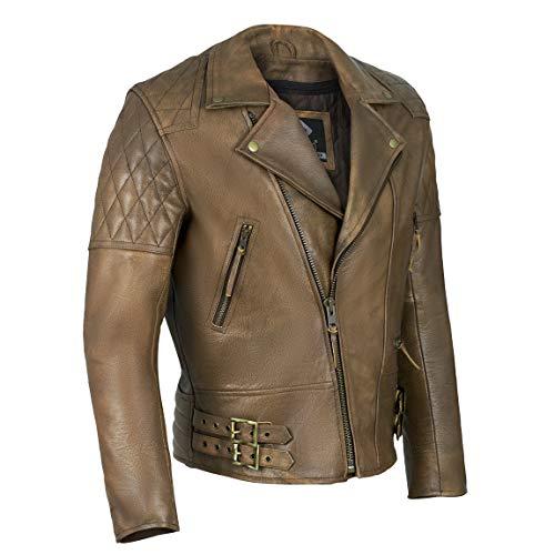 Chaqueta de cuero para hombre, de Gallanto, vintage, color marrón, diseño clásico de rombos, ideal para motociclista Marrón marrón Small