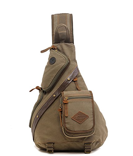 Koolehaoda Vintage Canvas with Cowhide Real Leather Chest Pack (8171-Coffee) 8171-Armygreen