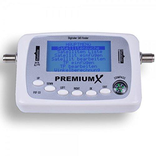 PremiumX Digitaler Sat Finder PXF-33 mit LCD-Display Satellitenerkennung und Kompass