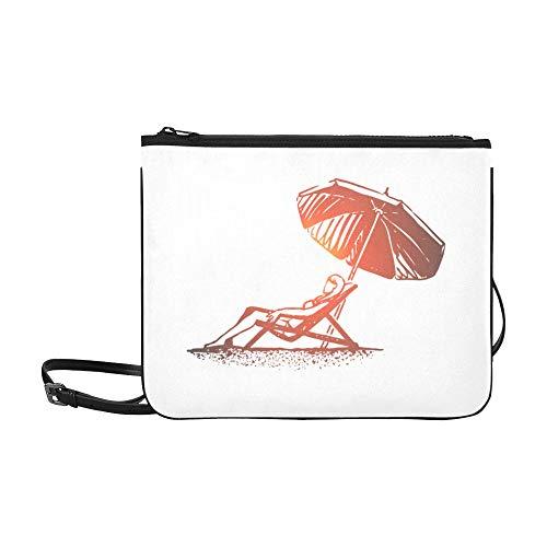 WYYWCY Strand-Mädchen-Sommer-Regenschirm Sunbathe-Muster-Gewohnheits-hochwertige Nylon-dünne Handtasche Umhängetasche Umhängetasche -