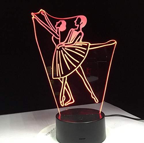 Joplc Ballett Frauen Männer Acryl 3D Nachtlampe Home Office Nacht Dekoration Schüler Abschluss Geschenk