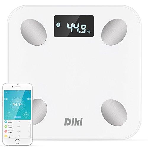 Báscula de Baño Digital, DIKI Báscula de Alta Precisión Digital de Alta Medida con Aplicación para Android e IOS Análisis Corporal, Peso, Hidratación, Grasa, Agua, Músculo, BMR y BFR, capacidad 180 kg (Blanco)