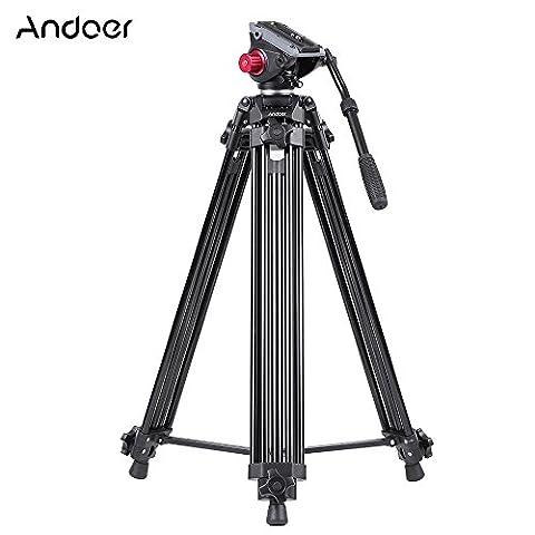 Andoer professionnel aluminium alliage caméra vidéo trépied Panorama tête de Trépied hydraulique fluide rotule pour Canon Nikon Sony DSLR enregistreur DV Max hauteur 67 pouces charge maximum 10KG