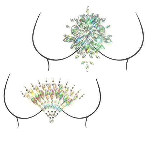 2 Stück Kristall Aufkleber Brust Aufkleber, Meerjungfrau Gesicht Edelsteine Glitter Strass Temporäre Tätowierung Aufkleber Festival Gesicht Körper ()