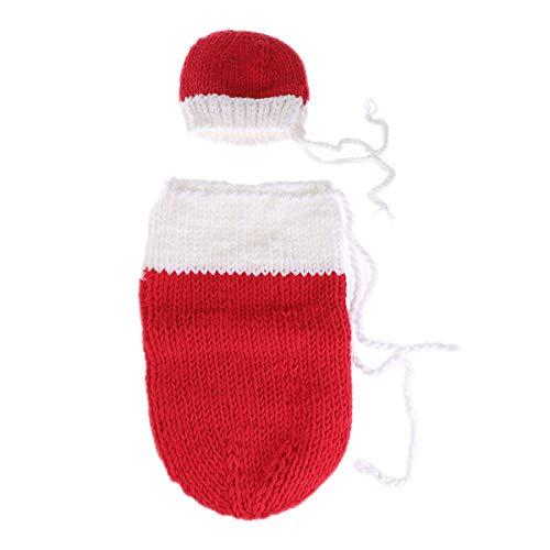 YeahiBaby Baby Fotografie-Requisite Schlafsack Baby Schneemann Kostüm Weihnachten Baby Fotografie Requisiten (rot)