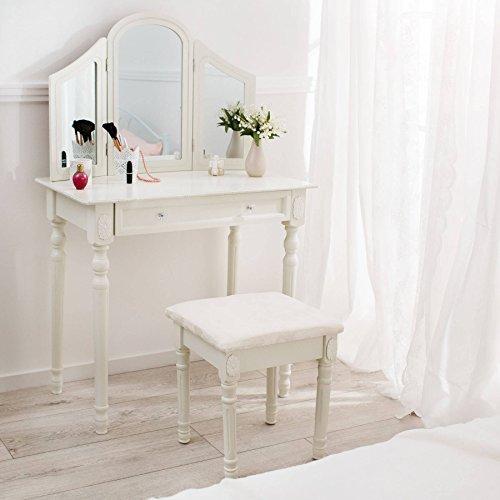 TecTake Schminktisch weiß mit Hocker und 3 Spiegeln aus Holz, geräumige Schublade zur Aufbewahrung von Kosmetik und Haarpflegeprodukten - 3