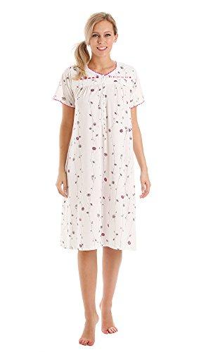 Da donna tessuto morbido di Jersey papavero motivo floreale a maniche corte camicia da notte camicia da notte/a maniche corte pigiama misure da 10-12 A 22-24 Short Sleeve Nightdress