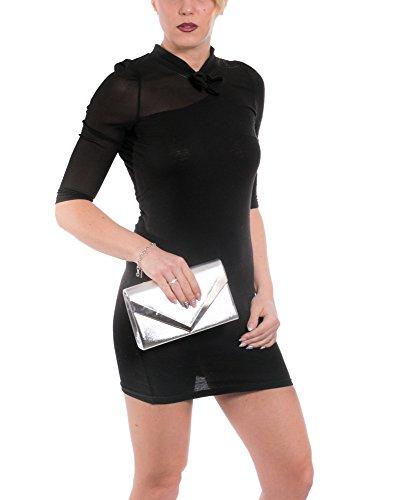 Gadzo® Clutch Handtasche Umschlag envelope elegant Umhängetasche Look CLUE Rot
