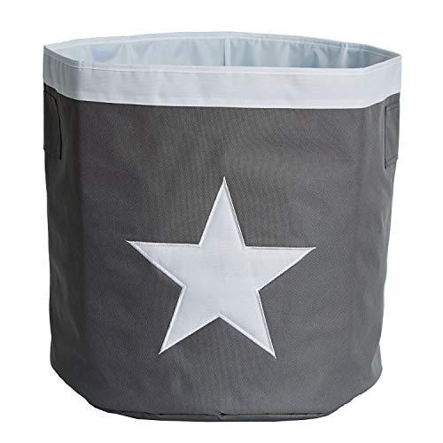 STORE.IT 671732 Großer Aufbewahrungskorb mit Aufgenähtem Stern, Polyester, Grau/Weiß, 44 x 44 x 44 cm (Kinder Spielzeug Box)