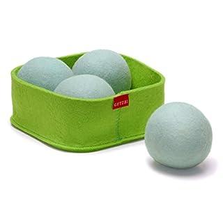 4 GETZBI Trocknerbälle in Filzbox / 100% Schurwolle / effektive Daunentrocknung / schonende Daunenpflege