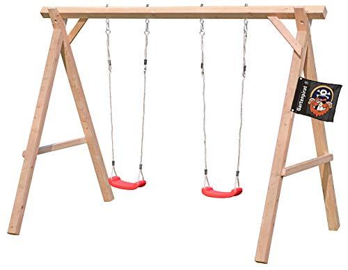 Gartenpirat Schaukelgestell Holz Lärche Typ 1.2 Doppelschaukel aus Lärchenholz