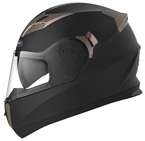 YEMA Casco Integrale Moto Scooter ECE Omologato YM-829 Motorino Caschi Integrali Donna Uomo con Doppia Visiera Parasole, Nero opaco, XL