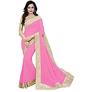 unique enterprise Women's Pure Georgette Saree With Blouse Piece