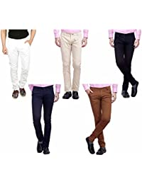 Nimegh White, Cream, Black, Navy Blue And Brown Color Cotton Casual Slim Fit Trouser For Men's (Pack Of 5)