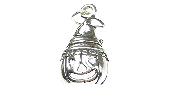 Pumpkin with hat 2D sterling silver charm .925 x 1 Halloween charms SSLP4373