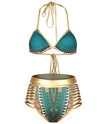 I VVEEL Damen Halfter Neck High Taille Metallic Badeanzug Afrika Druck Bikini Set Bademode (Halfter Perlen Bikini)
