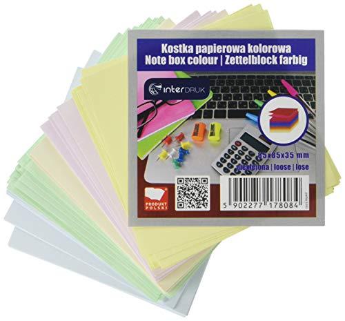 Interdruk KOSPAPFKNK - Bloque de Notas (85 x 85 x 35 mm, Hojas Sueltas), Multicolor