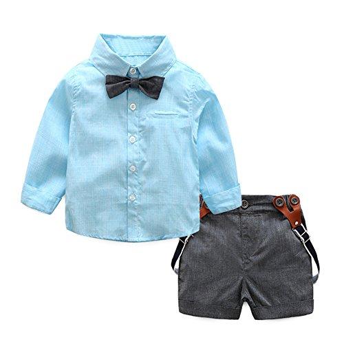 Demiawaking 2pcs Baby Kleinkind Jungen Gentlemen Bowknot Hemd Hosenträger Hose Ausstattung Kleidung Set (80(75-85cm), Blau) (Baby-jeans-shorts)
