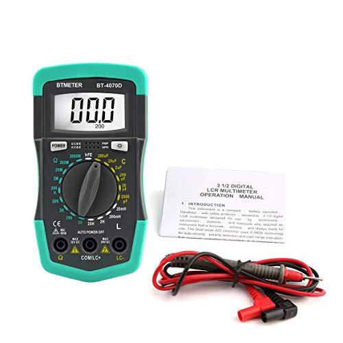 BTMETER HP4070D Mini Digital-Multimeter Widerstand Meter Kapazität Induktivität Transistor Diode Tester LCD Hintergrundbeleuchtung Ohmmeter - Grün & Grau