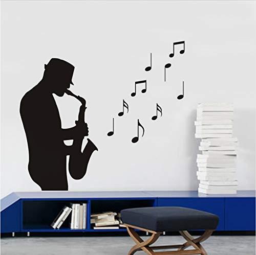 Bandsman Spielen Saxophon Vinyl Wandaufkleber Kinderzimmer Schlafzimmer Abziehbilder Musiknote Kindergarten Kunst Wandgemälde Home Decor Poster