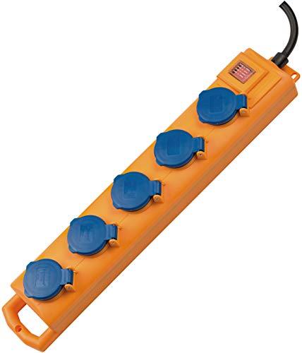 Brennenstuhl Super-Solid SL 554 Steckdosenverteiler/Outdoor Steckdosenleiste (für den Baustelleneinsatz und den ständigen Einsatz im Freien, 5-fach, 2m Kabel, mit Schalter, IP54) gelb