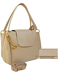 I Define You Combo Of PU Cream Handbag & Wallet