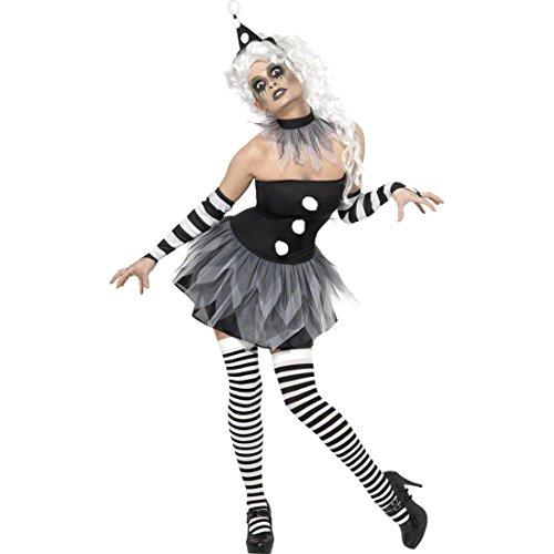 Pierrot Kostüm Damen Clownskostüm L 44/46 Clownkostüme Halloween Clown Clownskleid (Der Clown Pierrot Kostüm)