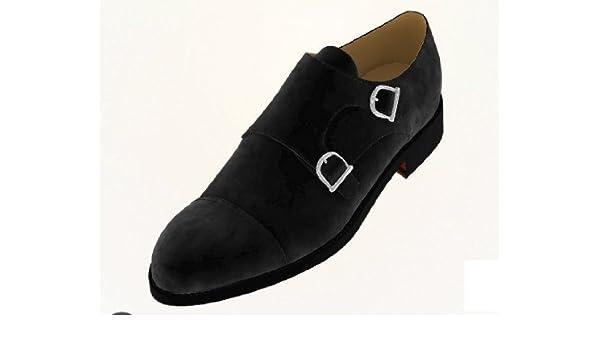 18c2bfe5fb37 Daniel   Lade Black Velvet Double Monk-Strap Made to Measure Shoe   Amazon.co.uk  Shoes   Bags