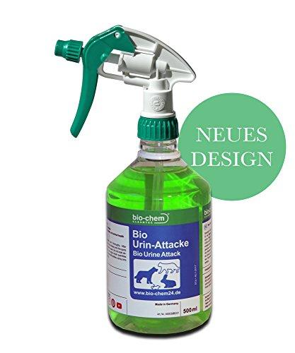 bio-chem® BIO URIN ATTACKE Geruchsentferner bei Katzenurin, Hundeurin, Tierurin 500 ml | Geruchsvernichter I Geruchsbekämpfer I Geruchsneutralisierer I Geruchskiller I BIOLOGISCH, UMWELTBEWUSST, VEGAN uvm.