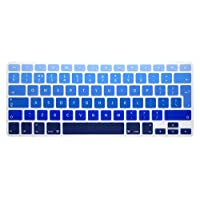 ‏‪HRH English Silicone Keyboard Cover Skin for MacBook Air 13,MacBook Pro 13/15/17 (with or w/Out Retina Display, 2015 or Older Version)&Older iMac EU Layout Keyboard Protector-Ombre Blue‬‏