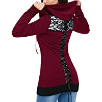 Mujer Sudaderas con Capucha de Manga Larga Patchwork de Encaje Abrigo de Cremallera Suéter con Cordones Sexy Camiseta Blusas Gusspower