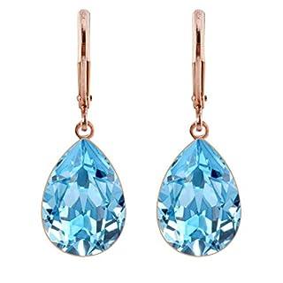 petra kupfer Damen Ohrringe Ohrhänger Tropfen Anhänger 1 Swarovski®-Kristall Hellblau Aquamarine Rose Gold Vergoldet rdh1-rg-aquamarine