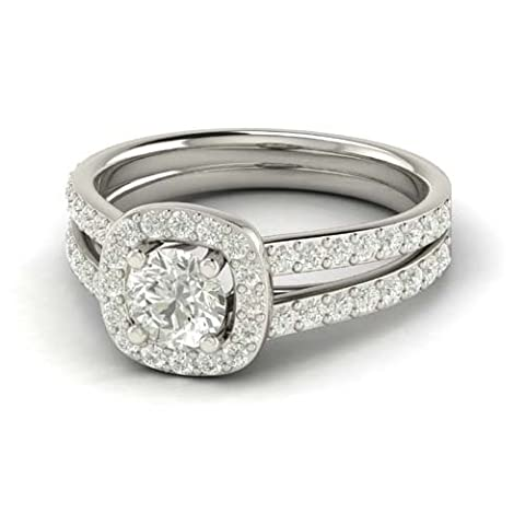 2.80 Cts Cushion Outline Split Shank Halo CZ Diamond Engagement