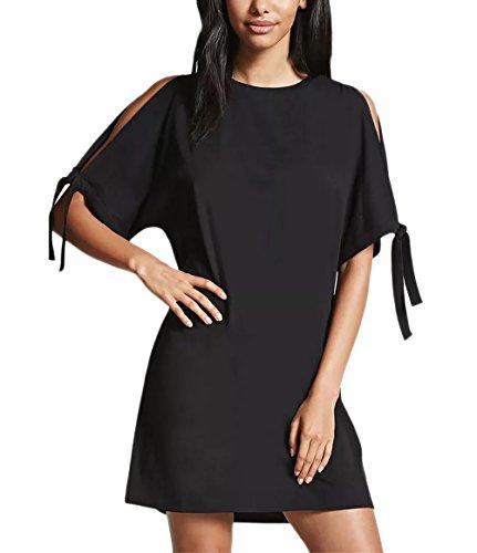 Vestiti Donna Estivi Elegante Corta T-Shirt Senza Spalline Manica Corta Puro Colore Abito Rotondo Collo Casual Vestito Di Base Top Strappy Blusa Sciolto Camicia Blouses Nero