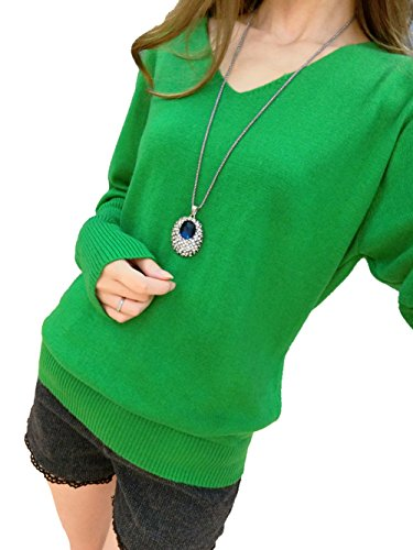 Ruidiyang Women's Wool Cashmere Classic Deep V Neck Sweater Pullover Green L -