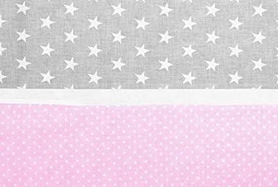 Vizaro - Tríptico - Juego de Sábanas 100% Algodón para MAXICUNA 70x140 cm - Colección Estrellitas Banda Rosa - Color Rosa y Gris - 100% Algodón Alta Calidad - Controlado contra sustancias nocivas - Fabricado en la UE