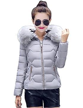 Internert Chaqueta gruesa de invierno para mujer Párrafo corto delgada Abrigo de cuello de piel Parka de algodón...