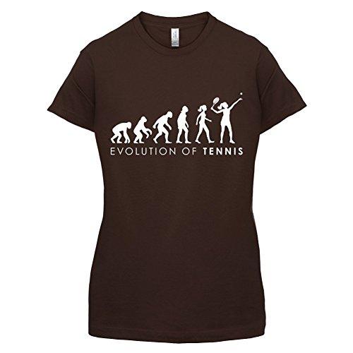 Evolution of Woman - Tennis - Damen T-Shirt - Dunkles Schokobraun - XL (T-shirt Womens Lustig Dunklen)