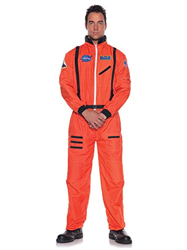 Orange Astronaut Costume Jumpsuit Adult Standard