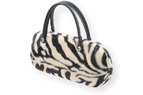 Brillenetui Damen wie kleine Handtasche samtige Oberfläche wie Fell - auch innen 4 verschiedene Designs, Farbe:beige mit schwarzen Streifen
