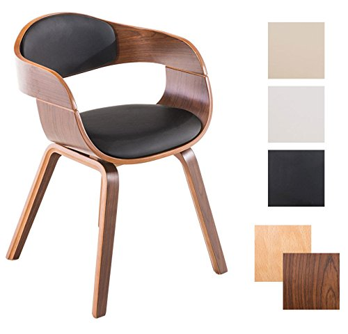 CLP Chaise de visiteurs moderne KINGSTON avec accoudoirs et très bon rembourrage du siège, piétement en bois Couleur bois noix, Couleur assise noir