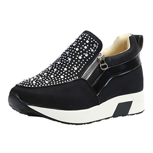HULKY Zapatos Deportivos Plataforma Mujer, Zapatillas Brillantes Calzado con Cremallera Plano Calzado...