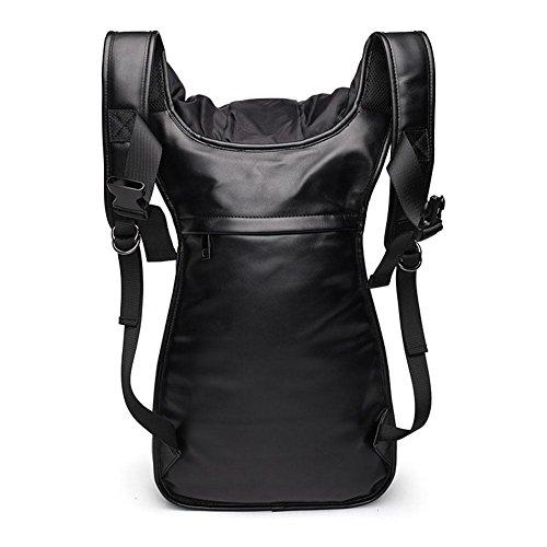 Männer 3D verpackt PU Rucksack mit Hut Casual Bag Schulbeutel Reise Rucksack Wandern Daypack silver