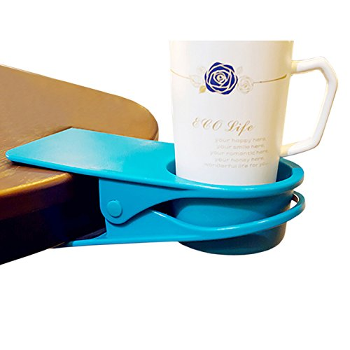 Thee Home Office Table Bureau Side Clip Eau Boisson Boisson Soda Mug à café support Tasse et soucoupe, bleu, 2pcs
