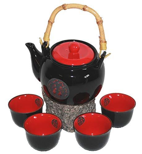 AAF Nommel ®, Asiatisches Teeset Teeservice in klassischen Farben schwarz rot Keramik 5 tlg. Nr. 010