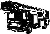 Samunshi® Wandtattoo Feuerwehr Löschzug in 9 Größen und 19 Farben (75x50cm schwarz)